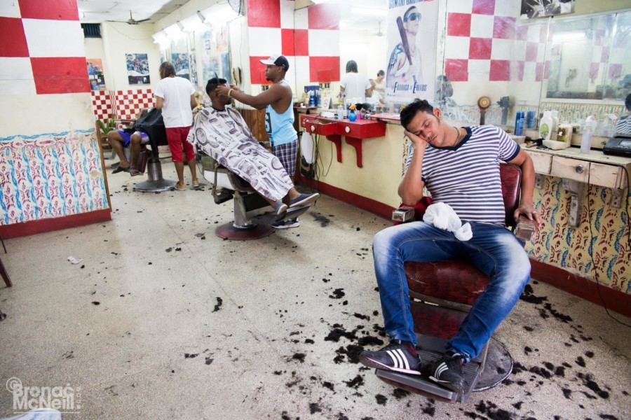 A Cuban Barber Shop photographed by London Photographer Bronac McNeill